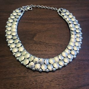 Chico's Silver Hammered Metal Necklace